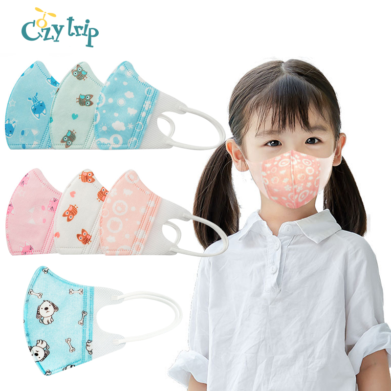 5 PCS Anti Bacterial Kids Mask PM2.5 Child's Face Mask Cartoon Protective Anti Droplet Dustproof Mask For Boys And Girls
