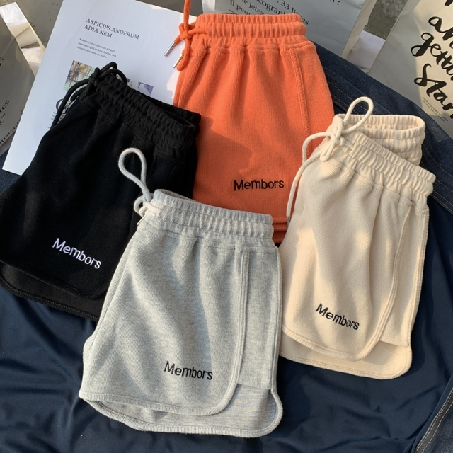 Hot summer All-match Women Short Pant Casual Lady Loose Letter embroidery Leisure Female Workout Waistband Skinny Stretch Shorts 1