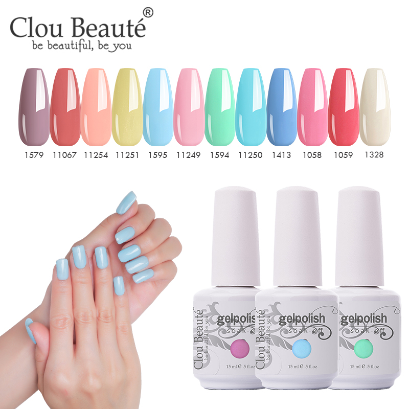 Clou Beaute Гель-лак для ногтей, 439 цветов, lakiery hybrydowe UV Gel vernis, полуперманентный УФ-верхний слой, LED УФ-гель для ногтей набор