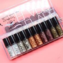 Portable 5 Colors Metallic Shiny Smoky Eyes Eyeshadow Waterproof Glitter Liquid eyeshadow powder Palette of matte shimmering