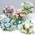 Лидер продаж, 1 шт. разноцветных смешанных цветов, красивый розовый искусственный цветок гортензии, шелковая фотография для семейной свадьб...