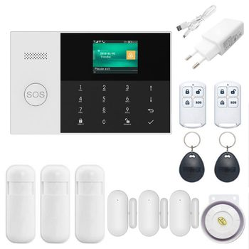 1Set Wireless WIFI GSM GPRS Alarm System Home Security APP Remote Control RFID Card Arm Disarm Kit with Colorful Screen SOS