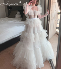 Ivory Tulle A Line Tiered Evening Dress Long Sleeves Satin Belt Beaded Party Gown Prom Vestido De Festa