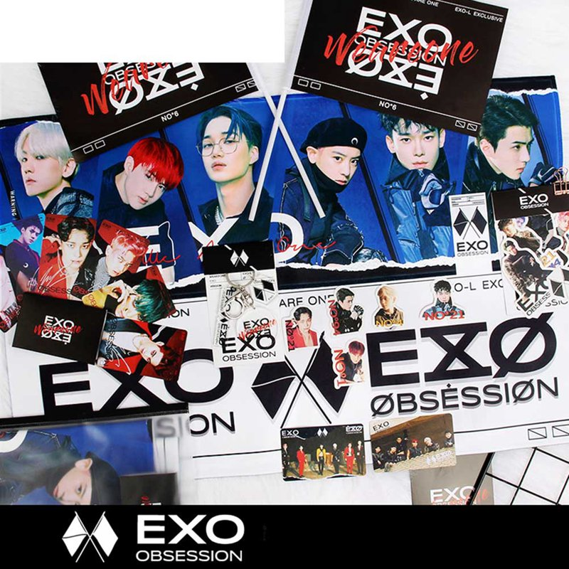 High Quality EXO 6th Album [OBSESSION] CD+Book+Card+Lyric+F.Poster(On Pack)+P.Slide+F.Poster