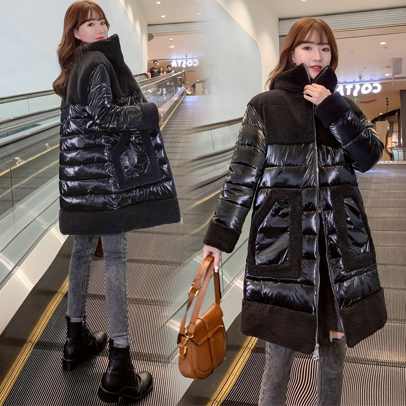 2020 New Winter Coat Glossy Down Cotton Long   Parka   Women lambswool Splice Jacket Female Large Size Loose Winter Warm Thick Coats