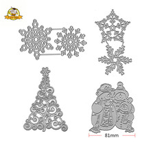Merry Christmas Tree Snowflake Die Cuts Metal Cutting Dies Snowman Set For DIY Scrapbooking Card Stencil Paper Cards