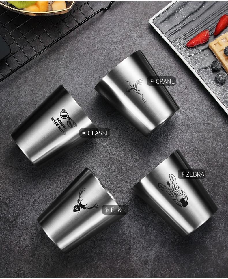 WORTHBUY пивная кружка с милым узором, 304 нержавеющая сталь, кофейная кружка с двойной стенкой, кухонная посуда для напитков для детей, пивная чашка для молока воды