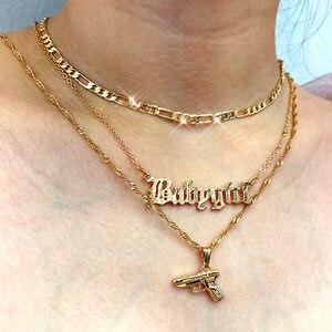 Flatfoosie Multilayer Porträt Münze Anhänger Halsketten Für Frauen Gold Farbe Pistole Halskette 2020 Fashion Statement Schmuck Geschenk