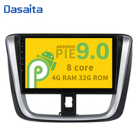 Android 9.0 Octa Core Car Stereo for Toyota Vios Yaris 2017 with 10.2 IPS Touch Screen Bluetooth GPS Navigator 1 din 32G ROM