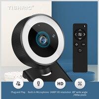 TISHRIC H200 HD Webcam 1080p Web Kamera Für Computer Mit Fernbedienung Und LED Füllen Licht Webcam Für Live broadcast