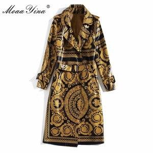 Image 5 - MoaaYina Mode Windjacke Mantel Herbst winter Frauen langarm Vintage Print Spitze Up warm Halten Mantel