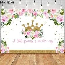 Розовый цветочный фон mocsicka с золотой короной для детского