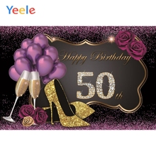 Yeele Happy 50th Birthday Party Photography Backdrops High Heels Wine Balloon Purple Photographic Background For Photo Studio
