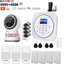 Klawiatura dotykowa Sgooway Tuya inteligentne życie WIFI domowy System alarmowy GSM bezprzewodowy z kamerą IP Alexa Google Home
