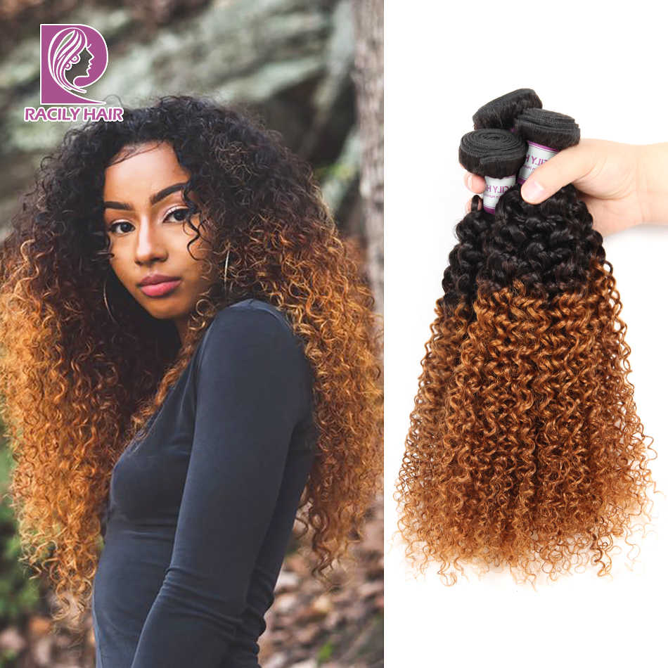 Racily Hair 1/3/4 Pcs Ombre Hair Bundles Brazilian Kinky Curly Hair Weave Bundles Deals Remy T1B/30 Ombre Human Hair Extensions
