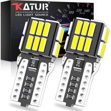 2 pces t10 led canbus w5w 194 168 lâmpada led interior do carro luz nenhuma lâmpada de erro branco vermelho amarelo led luz auto lâmpada 4014 24smd