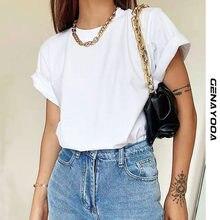 Genayooa T-shirt tinta unita estiva da donna T-shirt a maniche corte in cotone Casual lavorato a maglia top da donna donna Streetwear coreano 2021