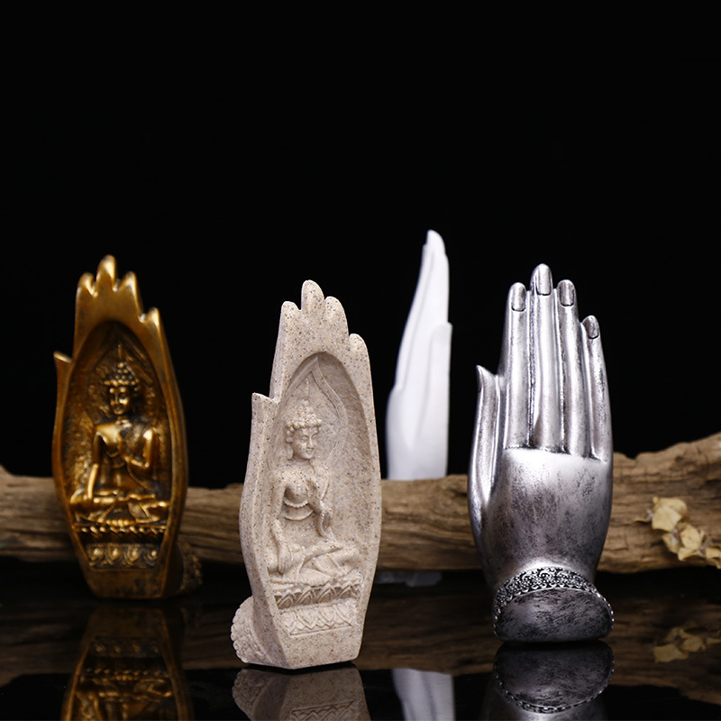 2 Pcs/set Resin Buddha Statue Monk Figurine Tathagata India Yoga Mandala Hands Sculptures Home Decoration Accessories Ornaments