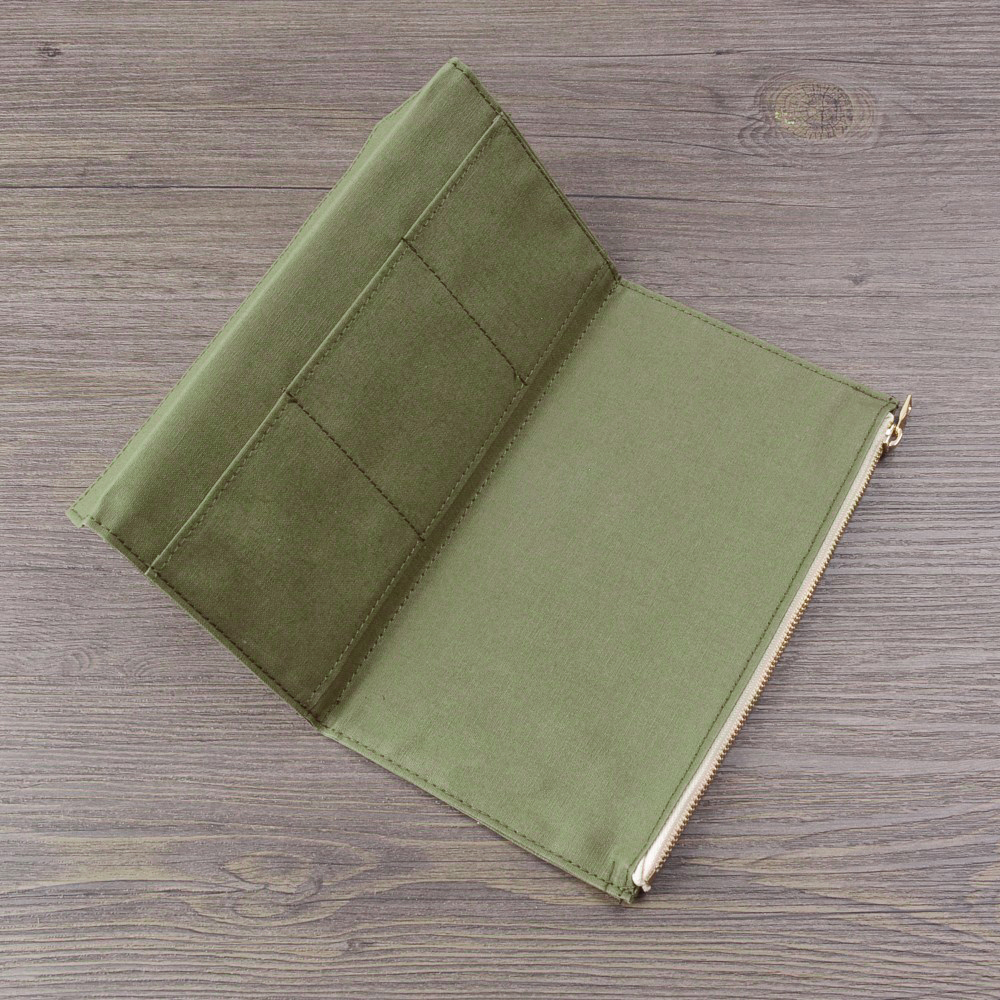 Image 5 - 50 Pieces / Lot Standard Regular Size 210x120 mm Canvas Zipper Pocket For Notebook Accessory Olive Green Card Holder Storage BagFile Folder   -