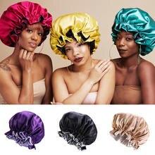 Новая модная женская атласная шапка для ночного сна шляпа волос