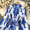 Women Court Wind Print Dress Retro Stand Collar Puff Sleeve Button Dresses Autumn Korean A-line Streetwear Short Dress 2