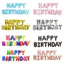 Balões de letras de feliz aniversário, balões de 16 polegadas com letras de feliz aniversário para decoração de festa de aniversário, rosa, dourado, preto, globos, presentes, 13 peças