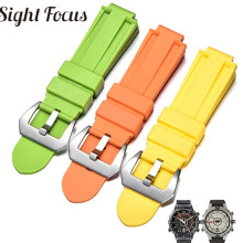 24x16mm Convex End Silicone Strap for Timex IQ Series T2N720 T2p140 Colorful