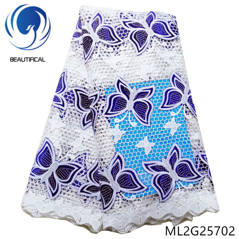BEAUTIFICAL african lace fabrics Latest design Guipure lace with Butterfly pattern Flannel fabrics with stones 5yards ML2G257 - 2