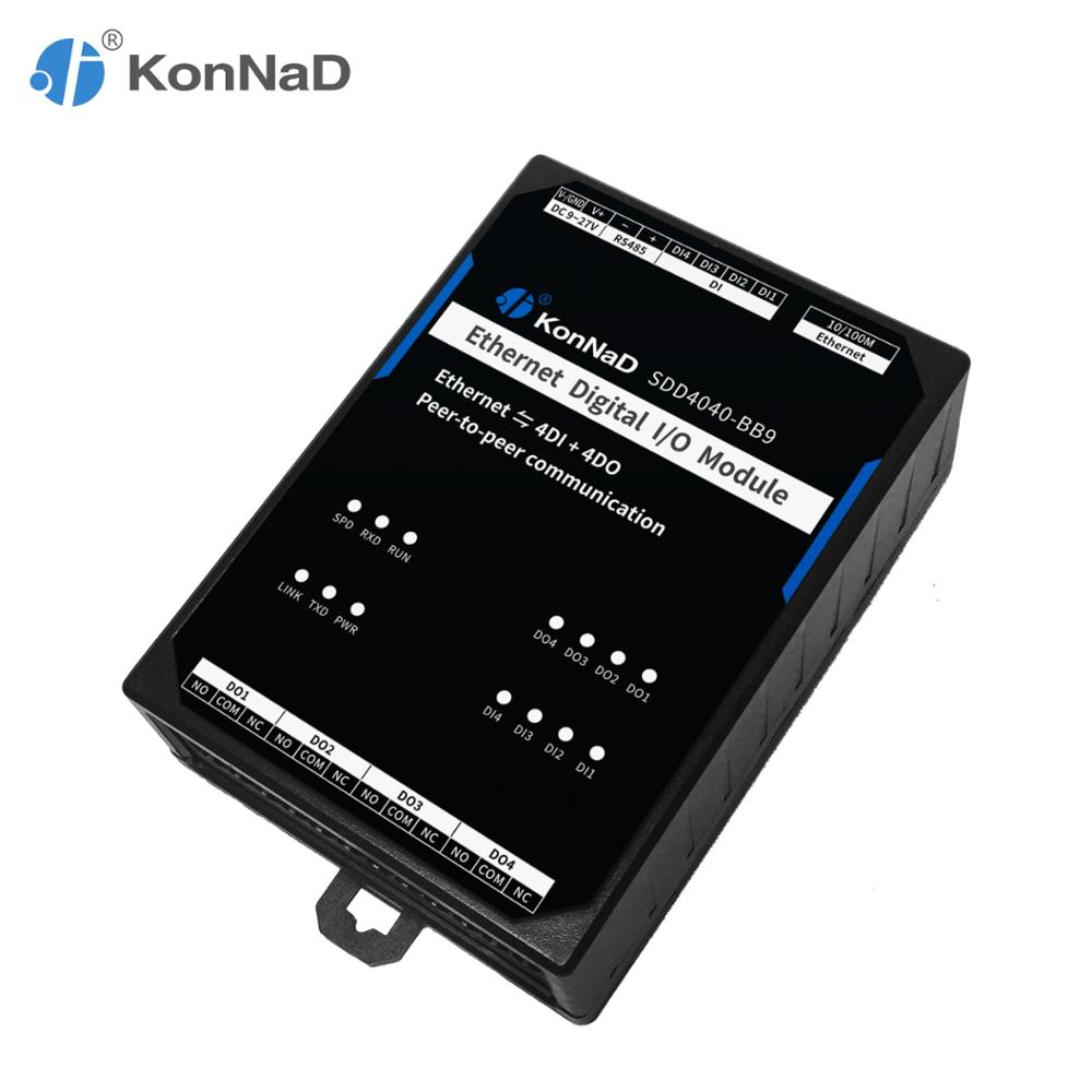 Ethernet Remote IO Controller Module 4DI 4DO Peer-to-peer Communication Form C Relay RTU Master Modbus TCP Data Acquisition