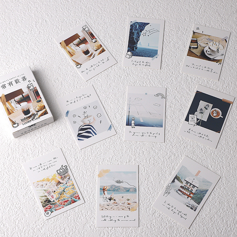 28pcs Lomo Small Message Card Writable Various Cocktail Happy Travel Bookmark Journal Decoration Greeting Paper Stationery Gift