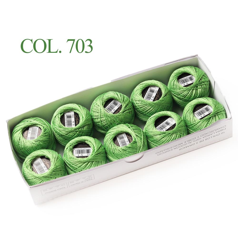 10 коробка с шариками Размер 8 жемчуг Хлопок нитки для вязания 43 ярдов двойная Мерсеризация длинный штапель из египетского хлопка 79 DMC цвета - Цвет: 703