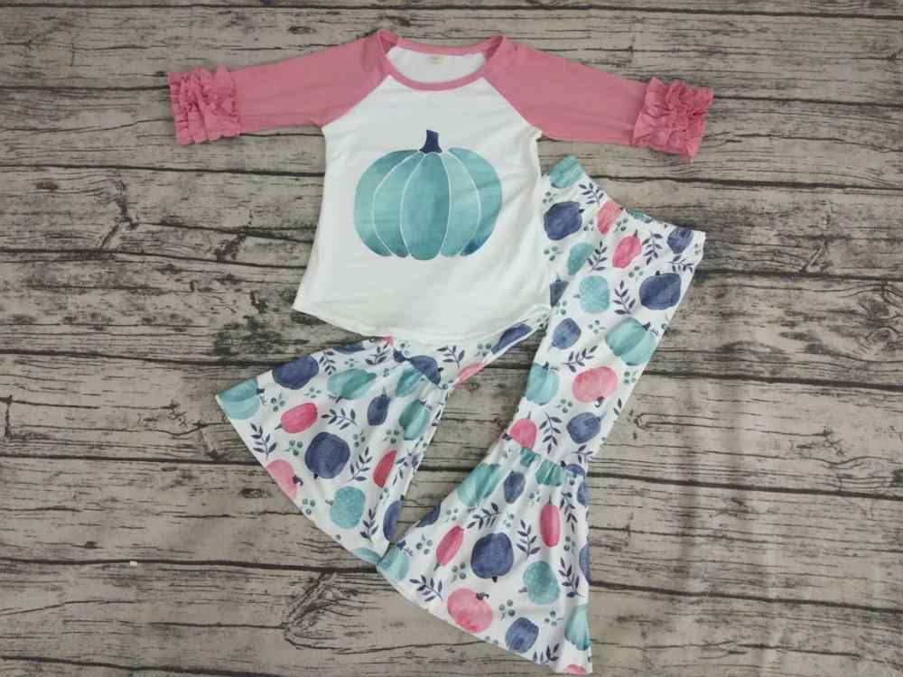 Yawoo baby girls pumpkin bell bottom pants pink icing ruffle long sleeve shirt boutique outfits clothing sets