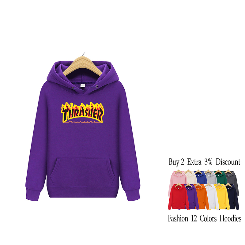 Brand Men Hooded Flame Letter Print Casual Couple Purple Sweatshirts Hoody High Quality Cotton Winter Pullover Puls Size