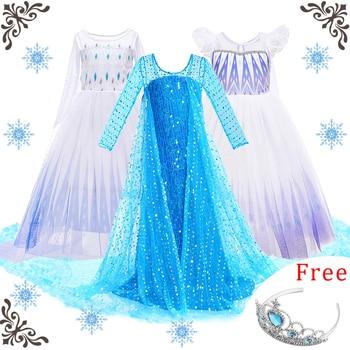 цена на Girls Elsa Dress Kids Cosplay Snow Queen 2 Elza Costume Children Fancy Disguise Anna Birthday Party Princess Dresses New Clothes