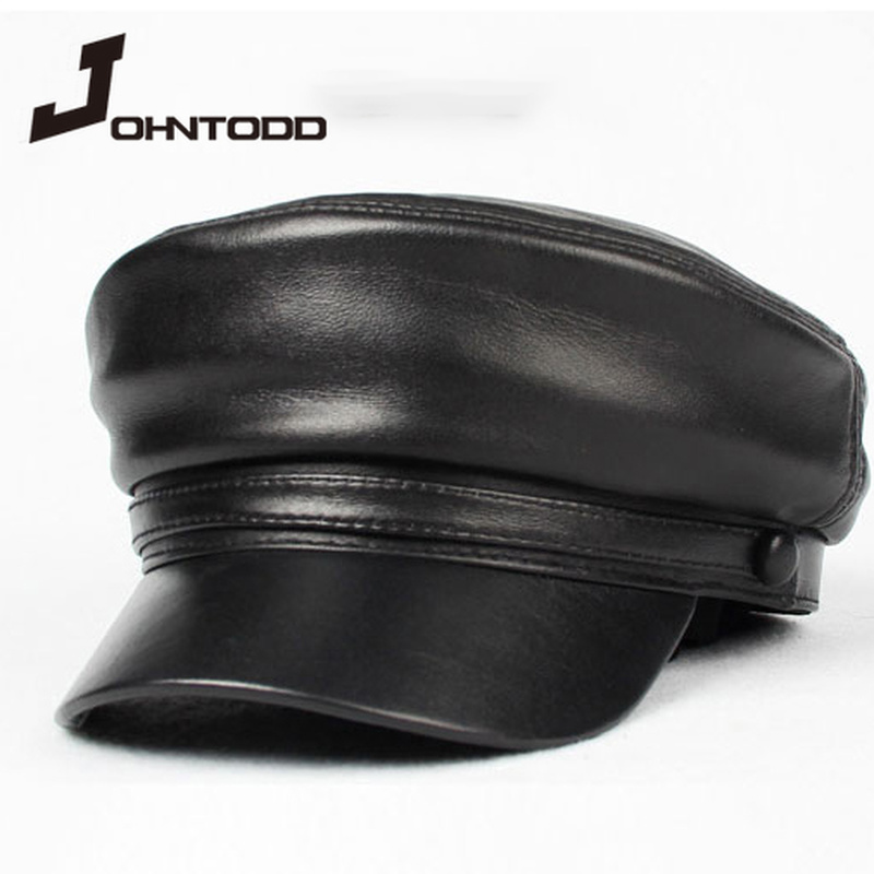 Cool unisex pu leather military hat autumn sailor hat for women men cap black female travel student hat captain army flat top