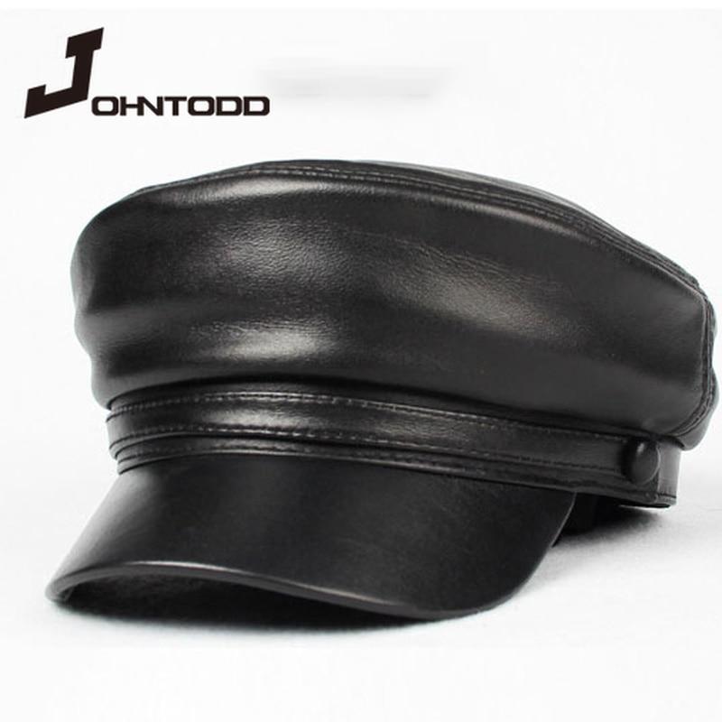Cool unisex pu leather military hat autumn sailor hat for women men cap black female travel student hat captain army flat top