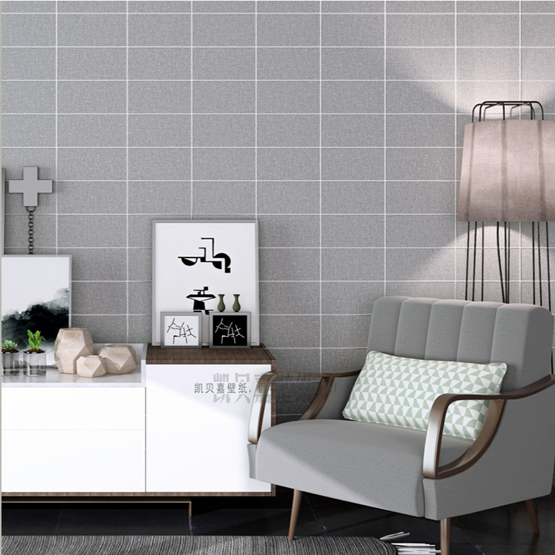 High quality nordic ins wallpaper living room bedroom black white square lattice modern simple fashion clothing