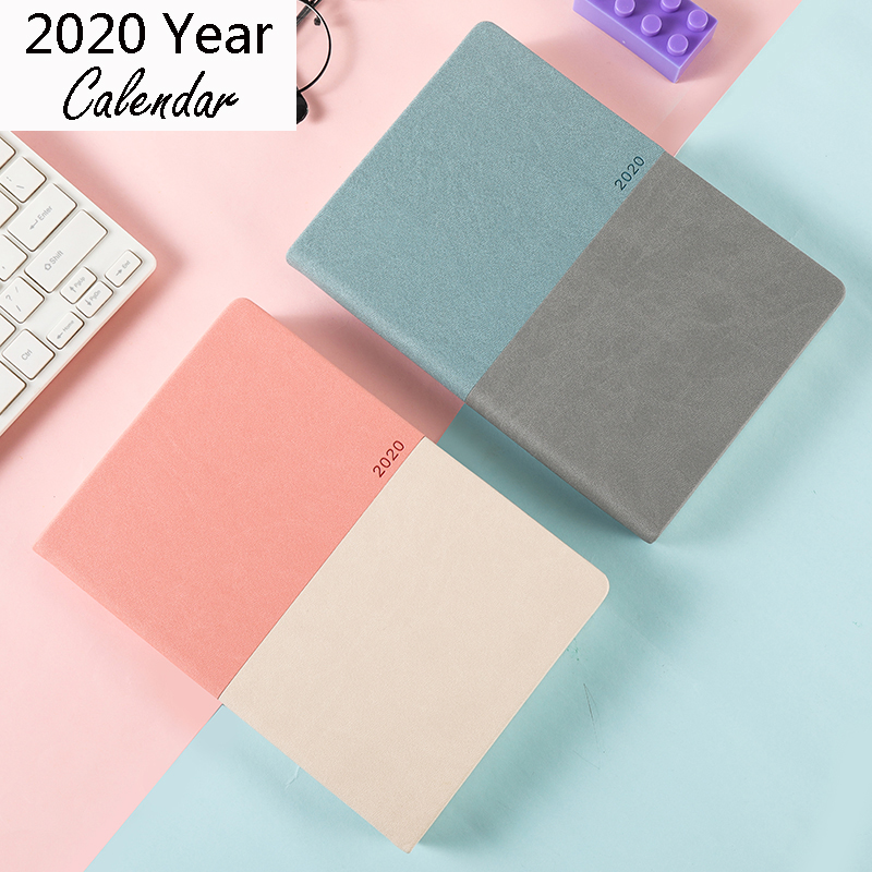 Colorful 2020 Year A5 Calendar Logo Name Customize Notebook Agenda Book Daily Leather Office School Supplies Diary Planner