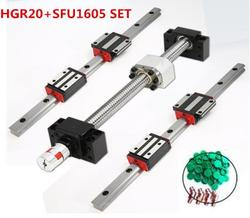 2 Lineaire Geleiderails 15Mm HGR15 + 1Pcs SFU1204 Bal Moer Behuizing Elke Lengte + Ondersteuning Bk/BF12 + Koppelingen Voor Cnc