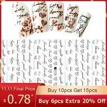 Лидер продаж, 1 лист, 3D наклейки в форме сердца с буквами, слайдер для ногтей, художественные Декоративные наклейки для маникюра, самодельные наклейки для маникюра BEF/CA