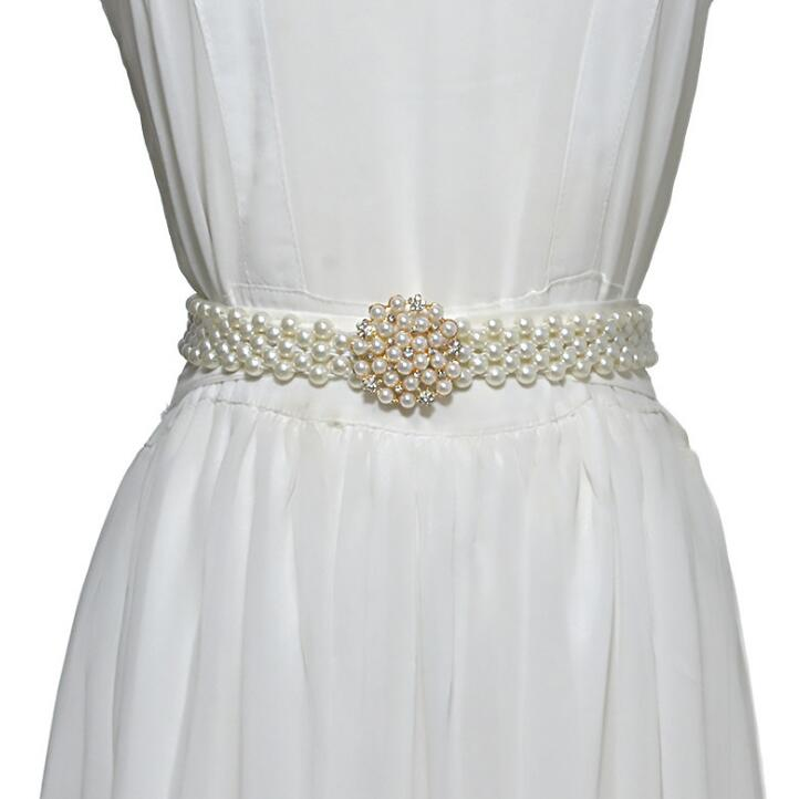 Women's Runway Fashion Pearl Cummerbunds Female Dress Corsets Waistband Belts Decoration Narrow Pearl Belt R2529