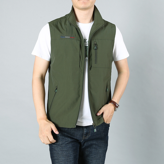 MAIDANGDI Men's Waistcoat  Jackets Vest 2021 Summer New Solid Color Stand Collar  Climbing Hiking Work Sleeveless With Pocket 2