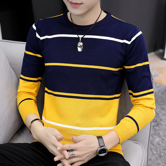 2021 Autumn Men's Casual round Neck Striped Sweater Youth Color Matching Base Thin Sweater 1