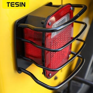 Image 3 - TESIN Metal Auto Tail Light Cover Trim Frame Rear Lamp Guard Protective Sticker for Jeep Wrangler TJ 1997 2006 Car Styling