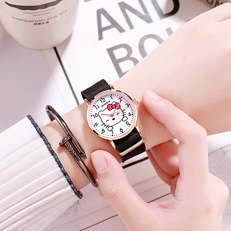 Simple Little Fresh High School Female Friends And Sisters Couples Trend Of Children's Cartoon Hello Kitty Watches