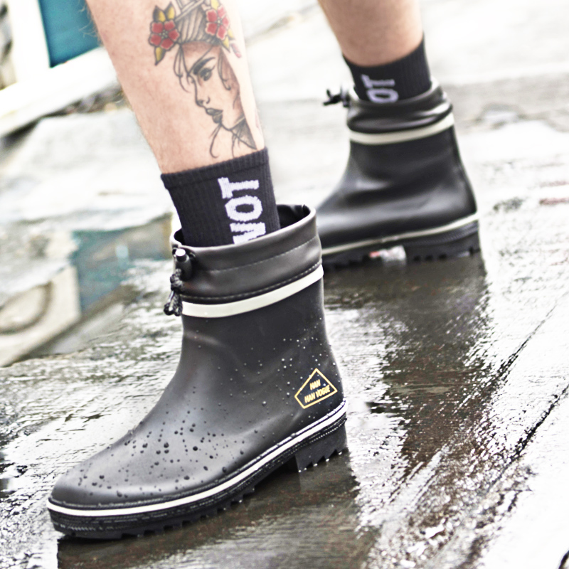 Rubber Rain Snow Boots Men Non-Slip Ankle Rain Boots Plus Size 46  Fashion Casual Short Rain Waterproof Rain Shoes For Men F63