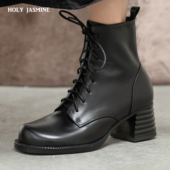 2020 new chelsea boots women brand new genuine calf leather round toe ankle bootie autumn winter shoes handmade platform boots Motorcycle Boots Women Genuine Cow Leather Cross-Tied Slide Zip Round Toe Lady Ankle Boots 2020 Winter New Black Shoes Handmade