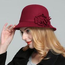Новинка, модная винтажная Женская шерстяная фетровая шляпа, Панама, купол, колокольчик, бант, фетровые шляпы, женская кепка, шляпа, 6 цветов