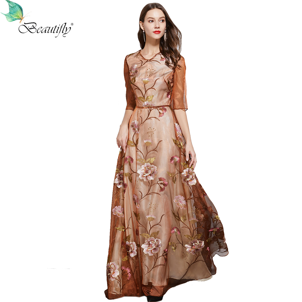 Beautifly Eugenia Embroidery Orange O-Neck Zipper Back Maxi Gowns Floor-Length Elegant Women's Mother Of The Bride Dresses