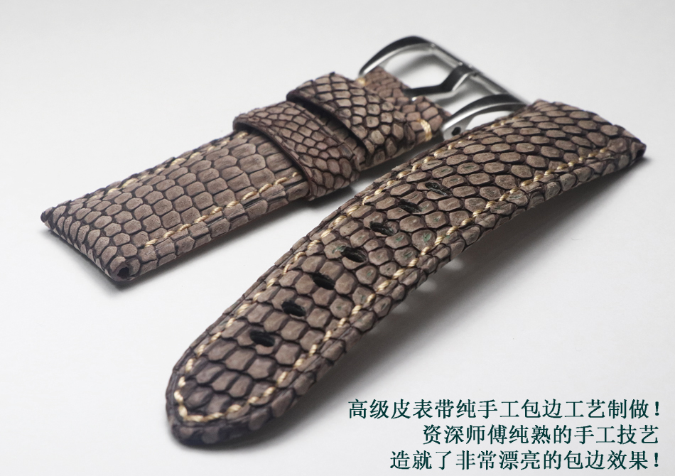 Top Quality Men Lizard Skin Watchbands Handmade 24mm Blue Grey Retro Leather Watch Band Strap For Panerai PAM Watch